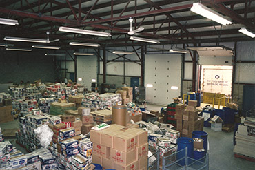 Food donations in The Food Bank warehouse