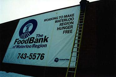 Food Bank banner on building