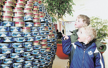 Children looking at a Canstruction structure