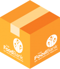 A box with The Food Bank logo on it