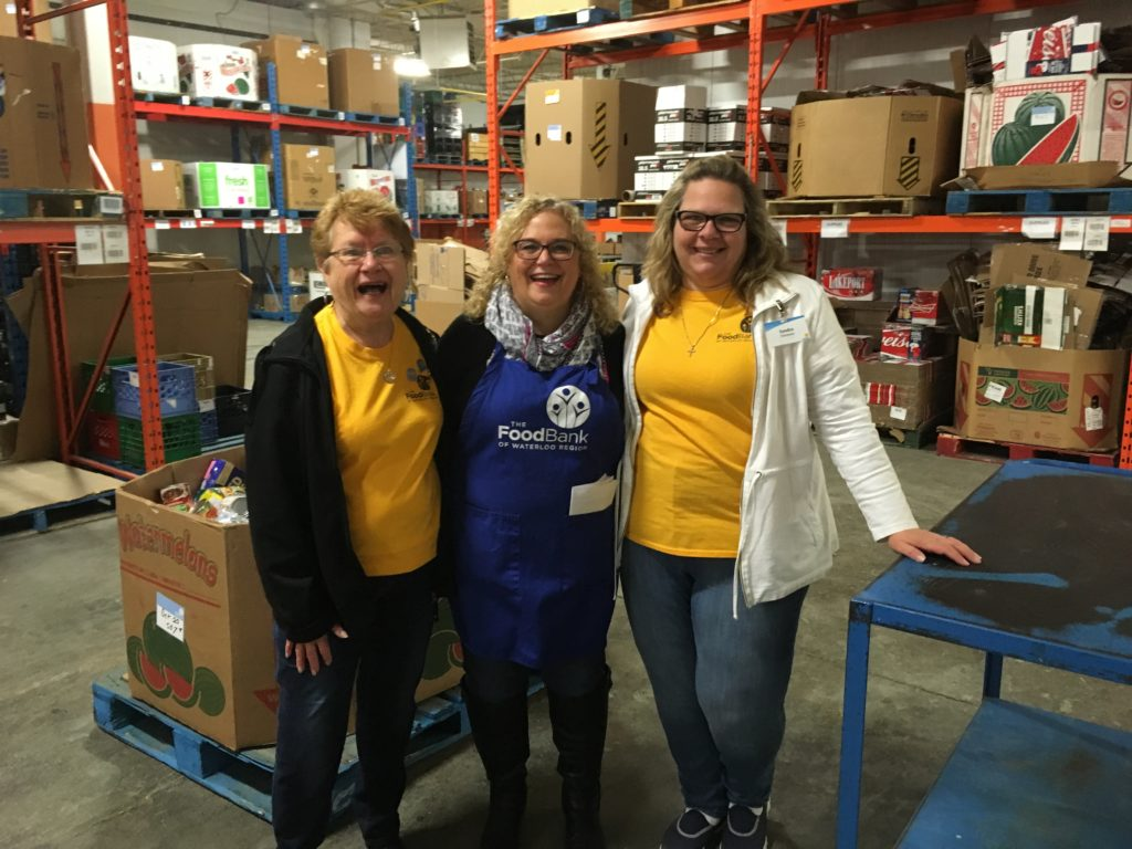Volunteers in the warehouse