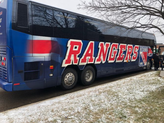 Kitchener Rangers branded coach parked at The Food Bank