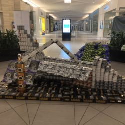 A structure of a space shuttle made out of cans