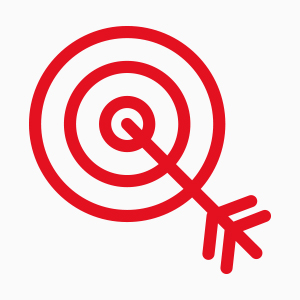 arrow in a target to mark your goal