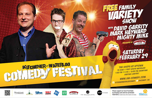 Family variety show performers with comedy festival logo