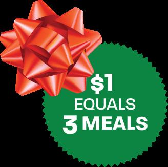 $1 equals 3 meals