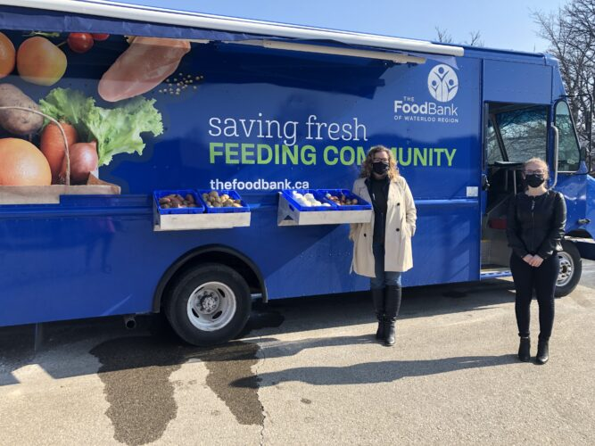 MPP Amy Fee and CEO, Wendi Campbell standing in front of the Mobile Pantry